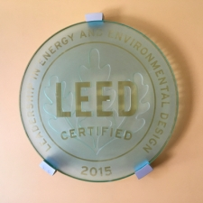 Wall plaque given for LEED certification in 2015.