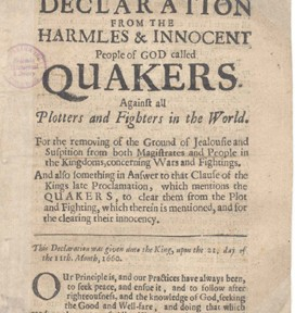 Declaration from the Harmless & Innocent People of God called Quakers