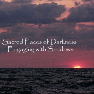 "Sun setting over ocean. Words ""Sacred Places of Darkness Engaging with Shadows"""